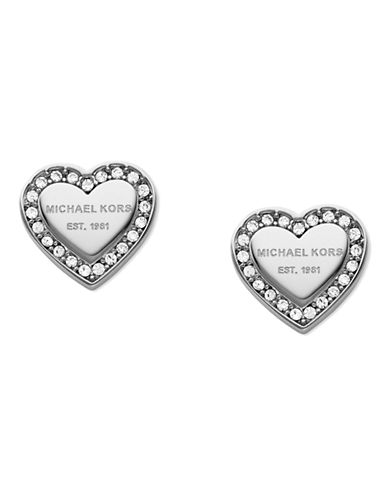 Michael Kors Silver Tone With Clear Pave Mk Logo Heart Post Earring-SILVER-One Size