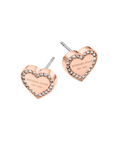 Michael Kors Pave Logo Heart Earrings-PINK-One Size