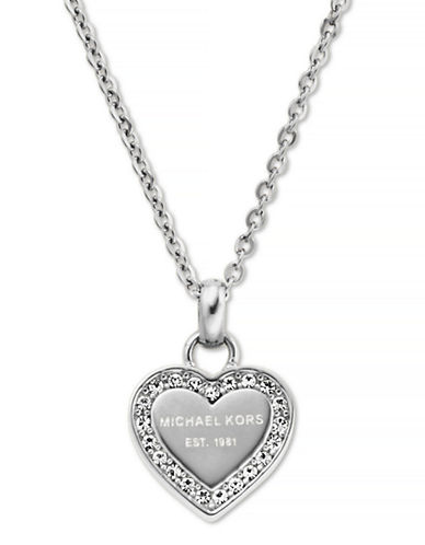 Michael Kors Silver Tone With Clear Pave Mk Logo Heart Pendant Necklace-SILVER-One Size
