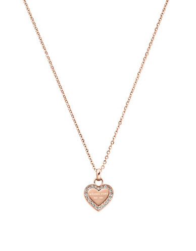 Michael Kors Pave Logo Heart Pendant Necklace-PINK-One Size