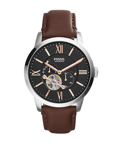 Fossil Automatic Multi Townsman Leather Strap Watch-BROWN-One Size