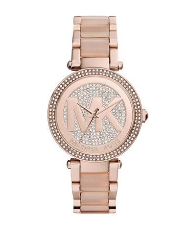 Michael Kors Rose Gold Tone and Blush Mini Parker Watch with Logo Dial MK6176-ROSE GOLD-One Size