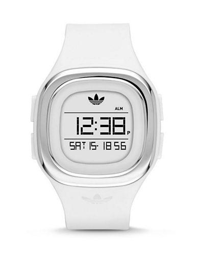 Adidas Denver Digital Silicone Strap Watch-WHITE-One Size