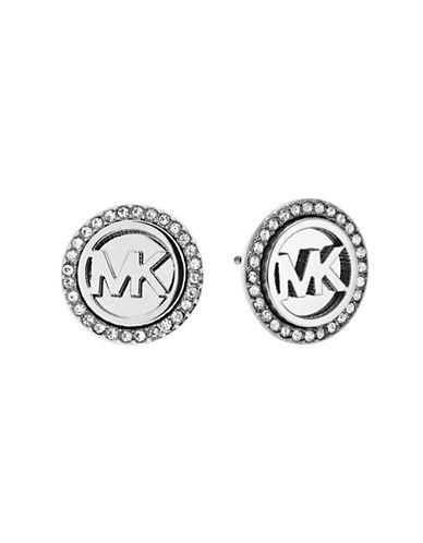 Michael Kors Logo Pave Earrings-SILVER-One Size
