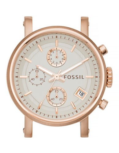 Fossil Boyfriend Chronograph Rose Goldtone Stainless Steel Watch Case-PINK-One Size