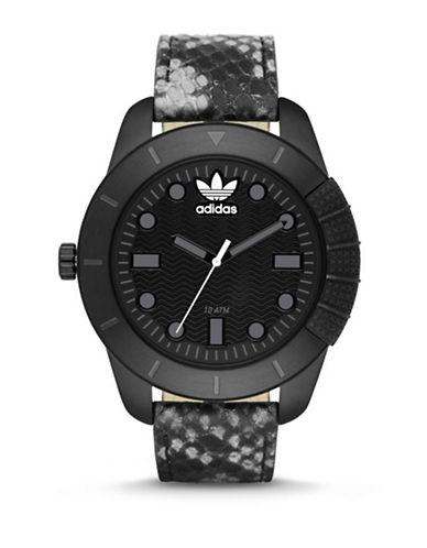 Adidas Snakeskin Leather Strap Analog Watch-BLACK-One Size