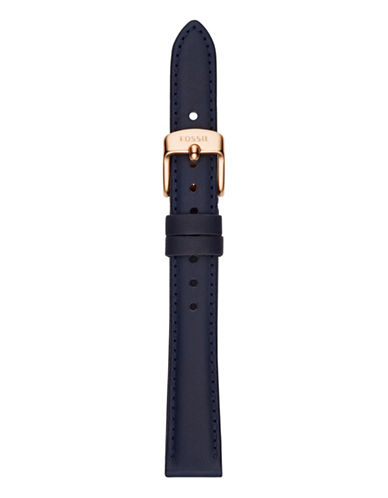 Fossil Navy Slim Leather Watch Strap-BLUE-One Size