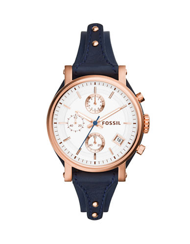 Fossil Original Boyfriend Leather Chronograph Watch-BLUE-One Size