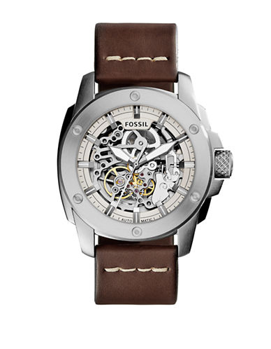 Fossil Modern Machine Automatic Skeleton Stainless Steel & Leather Strap Watch-BROWN-One Size