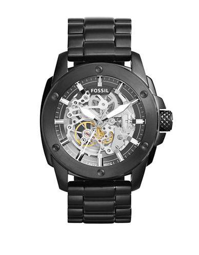 Fossil Modern Machine Automatic Blackened Stainless Steel Bracelet Watch-BLACK-One Size