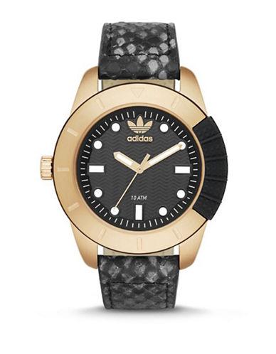 Adidas Snakeskin Leather Strap Analog Watch-GOLD-One Size