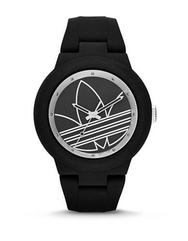 Adidas Aberdeen Trefoil Silicone Watch-BLACK-One Size