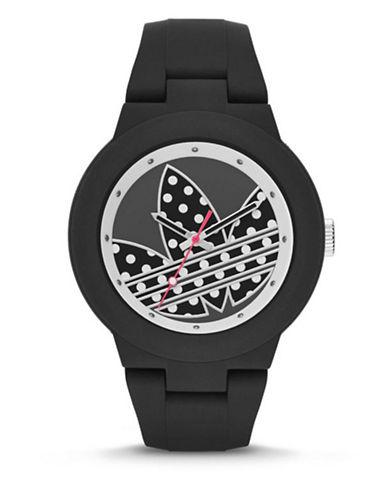 Adidas Aberdeen Polka Dot Silicone Watch-BLACK-One Size