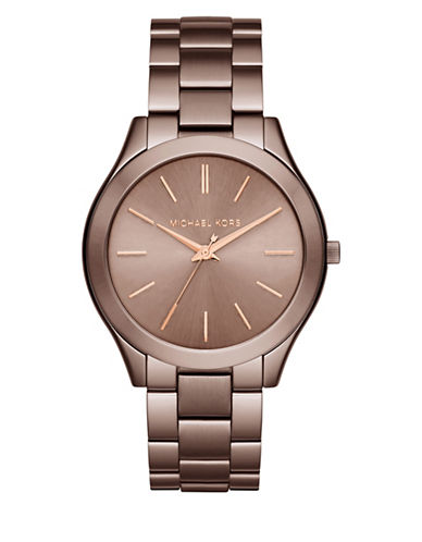 Michael Kors Three-Hand Slim Runway Sable Stainless Steel Bracelet Watch-SABLE-One Size