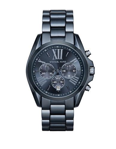 Michael Kors Bradshaw Chronograph Blue IP Stainless Steel Bracelet Watch-BLUE-One Size