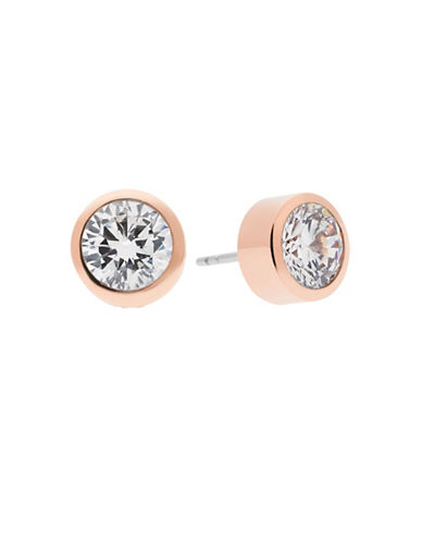 Michael Kors Goldtone Circular Crystal Earrings-ROSE GOLD-One Size