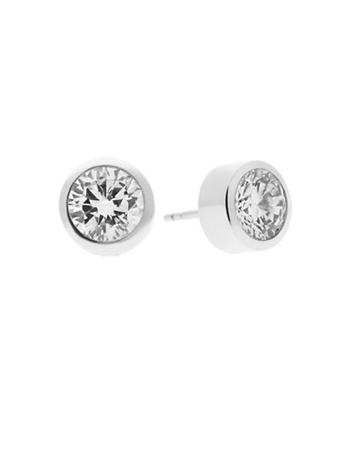 Michael Kors Goldtone Circular Crystal Earrings-SILVER-One Size