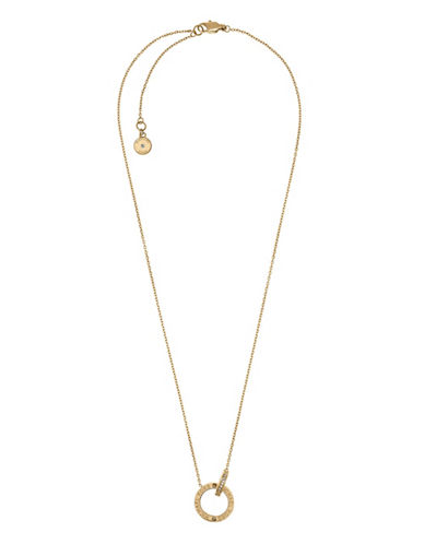 Michael Kors Interlocking Goldtone Etched Crystal Necklace-GOLD-One Size