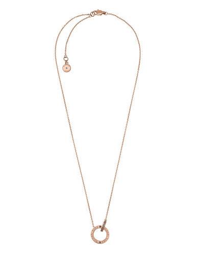 Michael Kors Interlocking Goldtone Etched Crystal Necklace-ROSE GOLD-One Size