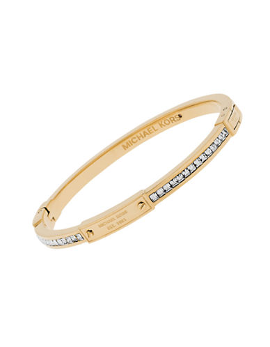 Michael Kors Whiskey Crystal Baguette Bangle Bracelet-GOLD-One Size