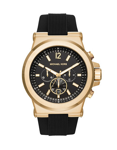 Michael Kors Dylan Silicone Chronograph Watch-BLACK-One Size