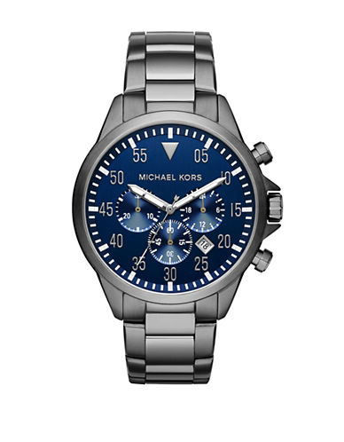 Michael Kors Gunmetal Stainless Steel Chronograph Watch-SILVER-One Size