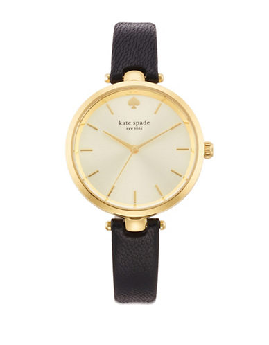 Kate Spade New York Holland Goldtone and Leather Watch-BLACK-One Size