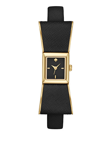 Kate Spade New York Kenmare Black Bow Leather Watch-BLACK-One Size