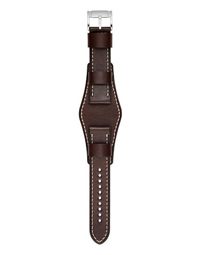 Fossil Large Brown Saddle Leather Watch Strap-BROWN-One Size