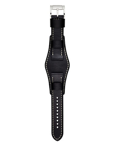Fossil Large Black Saddle Leather Watch Strap-BLACK-One Size