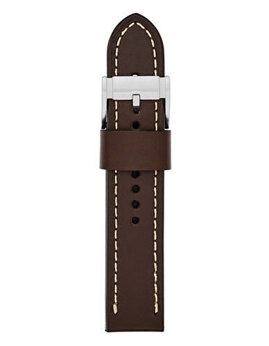Fossil Large Brown Leather Watch Strap-BROWN-One Size