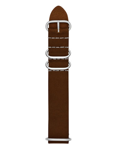 Fossil Double-Keeper Leather Watch Strap-BROWN-One Size