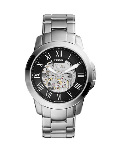 Fossil Grant Mechanical Watch-SILVER-One Size