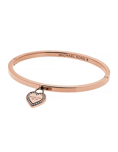 Michael Kors MK Logo Goldtone Heart Charm Bangle Bracelet-ROSE GOLD-One Size