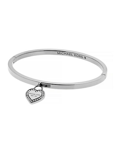 Michael Kors MK Logo Goldtone Heart Charm Bangle Bracelet-SILVER-One Size