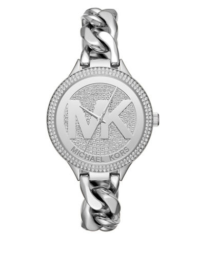 Michael Kors Slim Runway Twist Silvertone Bracelet Watch-SILVER-One Size