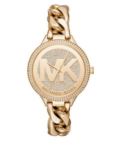 Michael Kors Slim Runway Twist Goldtone Bracelet Watch-GOLD-One Size