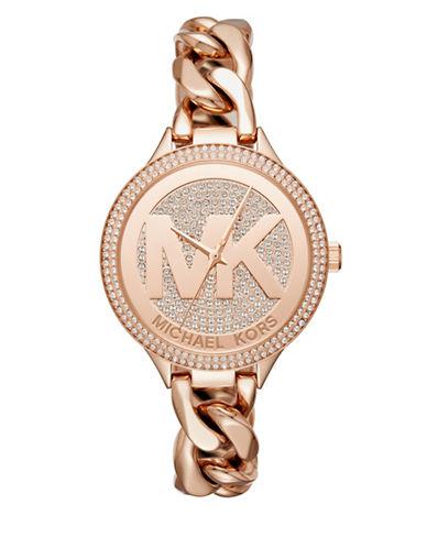Michael Kors Slim Runway Twist Rose Goldtone Bracelet Watch-PINK-One Size