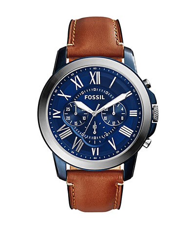 Fossil Chronograph Grant Blue Dial Watch-BROWN-One Size