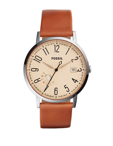 Fossil Analog Vintage Muse Leather Strap Watch-BROWN-One Size