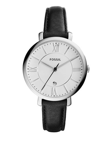 Fossil Jacqueline Analog Leather Watch-BLACK-One Size