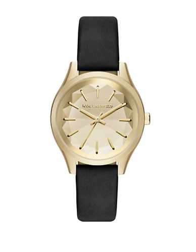 Karl Lagerfeld Paris Analog Janelle Stainless Steel Leather Strap Watch-BLACK-One Size
