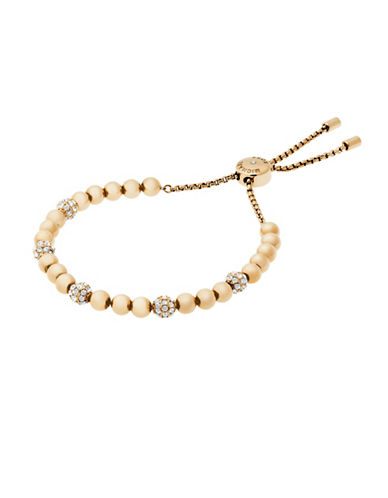 Michael Kors Pave Beaded Slider Bracelet-GOLD-One Size