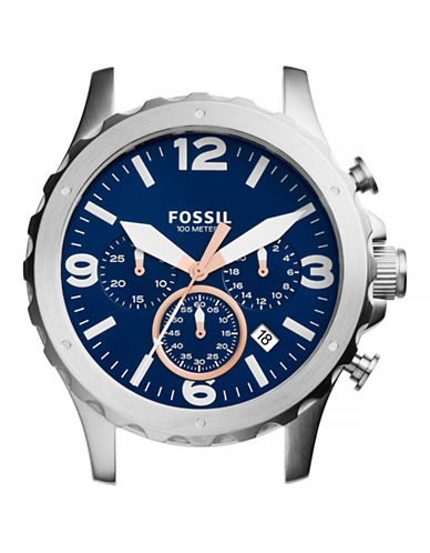Fossil Nate Chronograph Stainless Steel Watch Case-BLUE-One Size