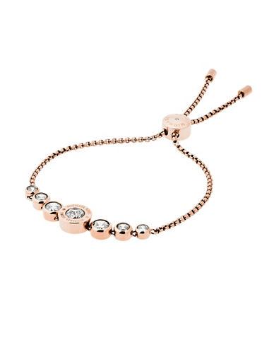 Michael Kors Rhinestone Logo Slider Bracelet-ROSE GOLD-One Size