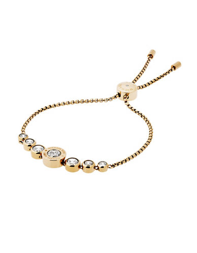 Michael Kors Rhinestone Logo Slider Bracelet-GOLD-One Size