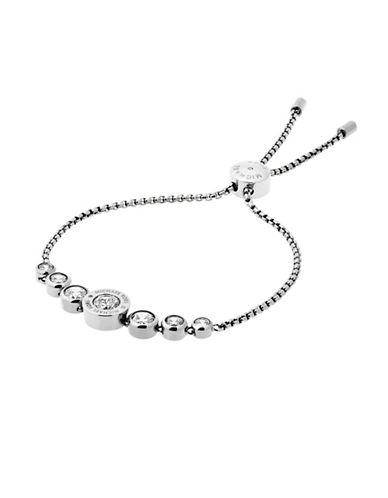 Michael Kors Rhinestone Logo Slider Bracelet-SILVER-One Size