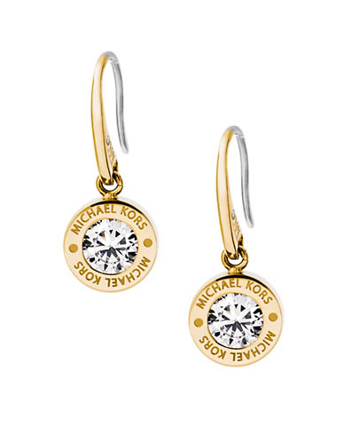Michael Kors Rhinestone Logo Drop Earrings-GOLD-One Size