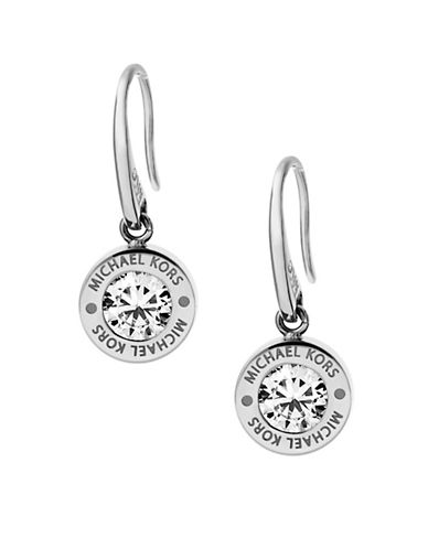 Michael Kors Rhinestone Logo Drop Earrings-SILVER-One Size