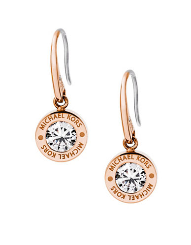 Michael Kors Rhinestone Logo Drop Earrings-ROSE GOLD-One Size